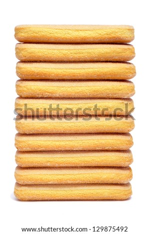 a pile of ladyfingers on a white background