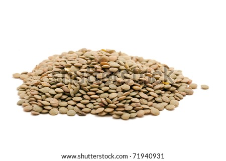 a pile of lentils isolated