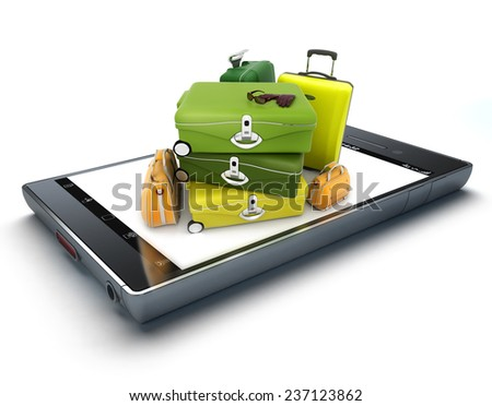 A pile of luggage on top of a smart phone screen - stock photo