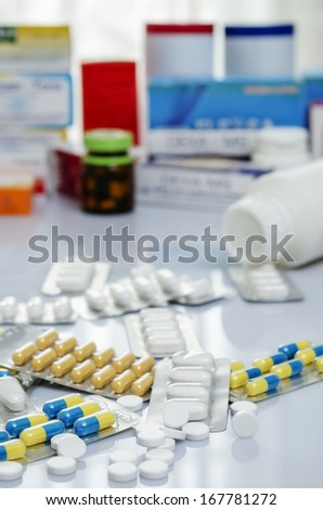 A pile of medicine or drug - stock photo