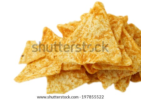 a pile of nachos isolated on a white - stock photo