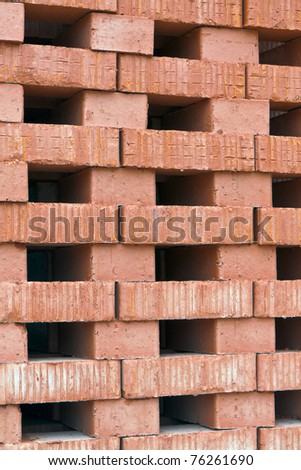 A pile of new bricks at construction site