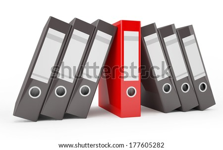 A pile of office ring binders (with a red binder in the middle)  - stock photo