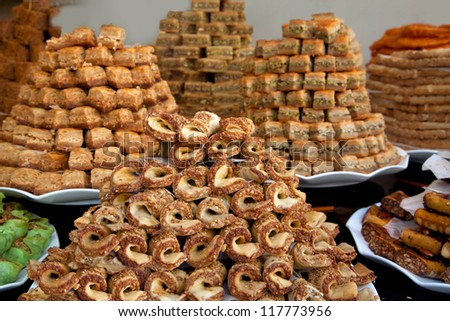 A pile of oriental sweets. Showcase. - stock photo