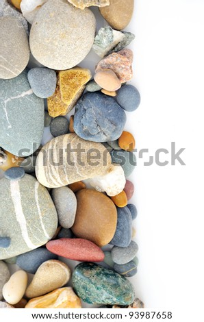 a pile of pebbles isolated - stock photo