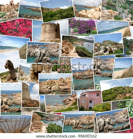 A pile of photographs of Sardinia (Italy) arranged into a background - stock photo