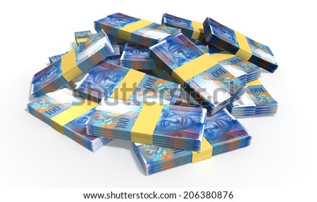 A pile of randomly scattered wads of Swiss Franc banknotes on an isolated background - stock photo