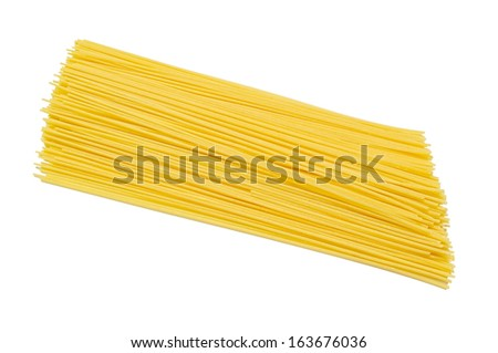 A Pile of Raw Traditional Spaghetti Isolated on White - stock photo