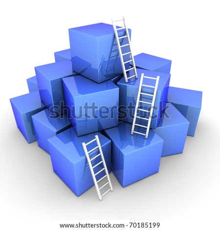 a pile of shiny blue boxes - three bright white ladders are used to climb to the top - stock photo