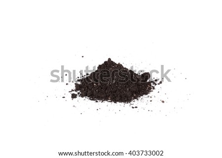 A pile of soil on a white background - stock photo