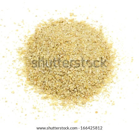 A pile of soybean meal, an ideal organic fertilizer and supplier of trace nutrients - stock photo