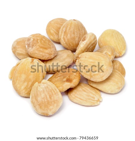 a pile of toasted salted almonds on a white background - stock photo