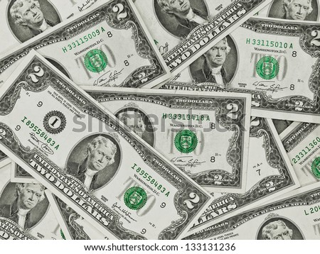 A Pile of Two Dollar Bills as a Money Background