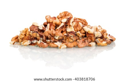 A pile of walnuts isolated on white background. - stock photo