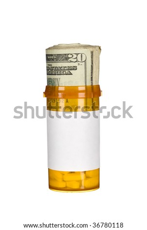 A pill bottle with pills and a roll of cash inside to infer the rising costs of prescription drugs.  Good for medical inference regarding inflation, recession, budgeting, retirement costs. - stock photo