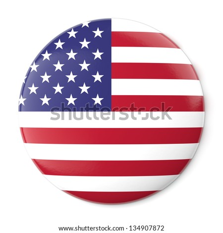 A pin button with the flag of the United States of America. Isolated on white background with clipping path. - stock photo