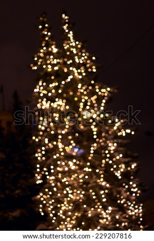 A pine tree is illuminated by multi-colored lights in the night sky - stock photo