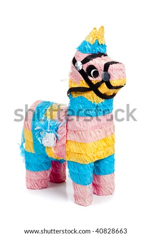 A pink, blue and yellow burro pinata on a white background - stock photo