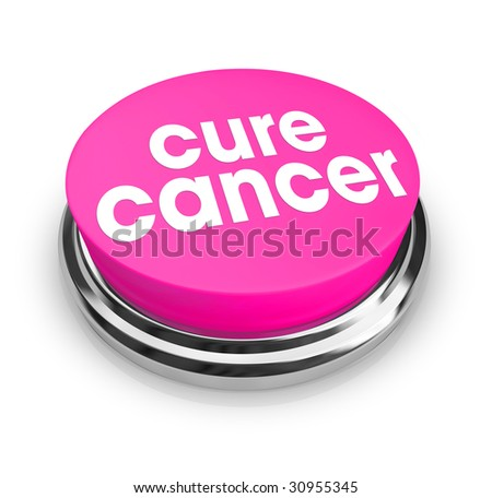 A pink button with the words Cure Cancer on it - stock photo
