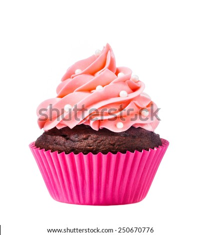 A Pink Cupcake isolated on a white background. - stock photo