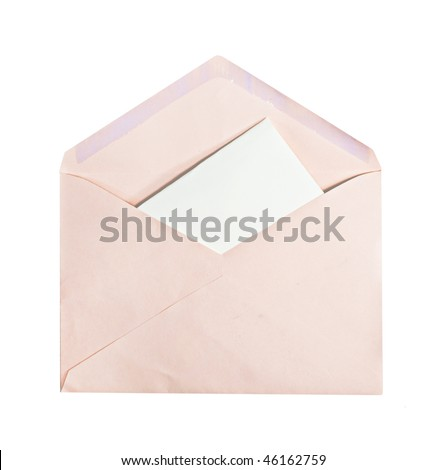 A pink envelope with letter inside, copyspace, isolated on white - stock photo
