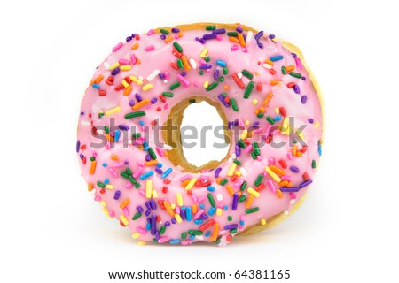 A pink frosted donut with colorful sprinkles isolated on a white background