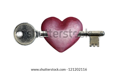 A pink heart with a bolt key piercing for the concept of unlocking my heart, isolated against white. - stock photo