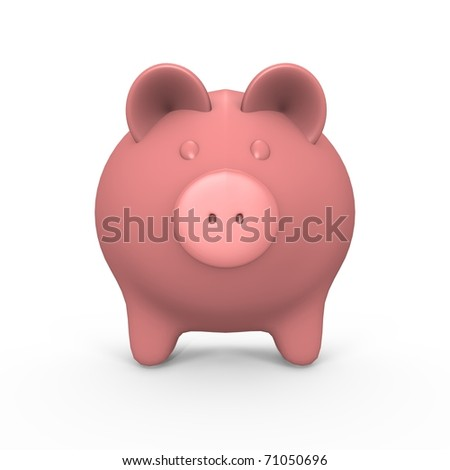 A pink piggy bank - a 3d image - stock photo