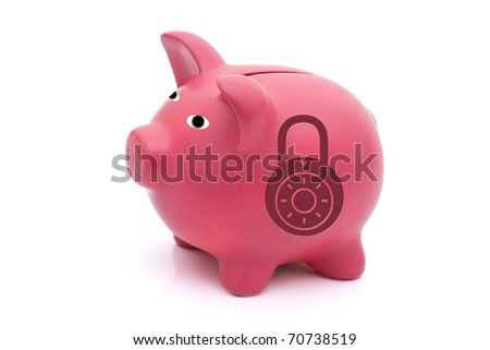 A pink piggy bank with a combination lock on a white background, Protecting your investments - stock photo