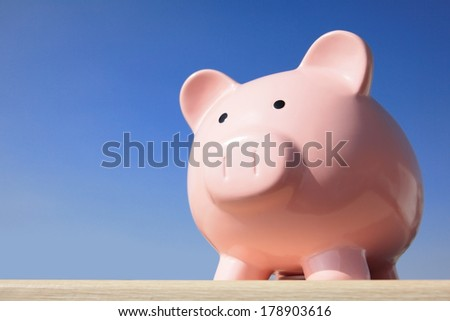 A pink piggy bank with blue sky - stock photo
