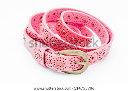A pink women belts on a white background - stock photo