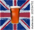 A pint of Bitter Beer over a grunged Union Jack - stock photo