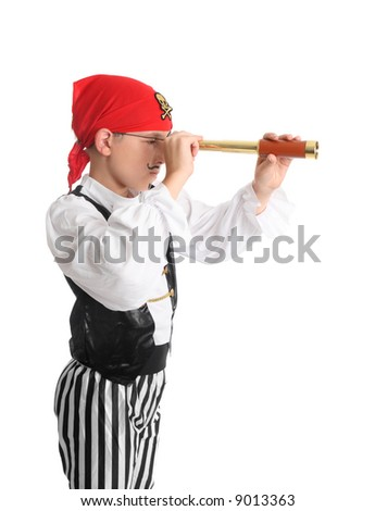 A pirate Looking through a folding pocket spotting scope (monocular or portable telescope) searching for ships to plunder or an island.. - stock photo