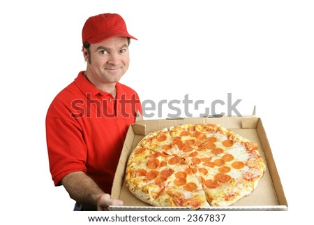 A pizza delivery man holding a hot, fresh pepperoni pizza.  Isolated on white. - stock photo