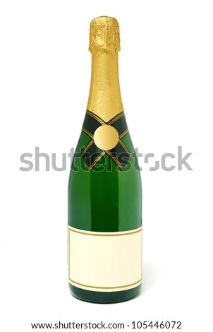 A plain champagne bottle isolated on white background - stock photo