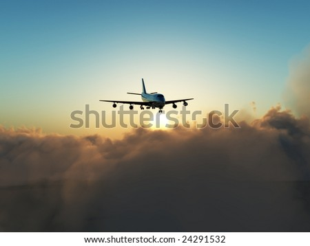 A plane in flight over clouds.
