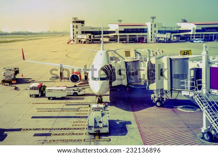 a plane is preparing for passengers - stock photo