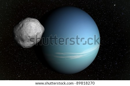 A planet beyond our solar system and its natural satellite. Real stars in the background. - stock photo