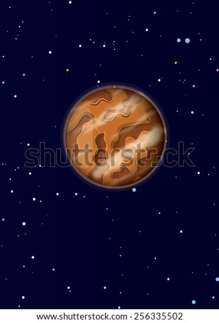 A planet in space, this is a single planet in space in front of a star field. wisps of cloud can be seen in the atmosphere.  - stock photo