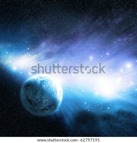 A planet near a Nebula with new star formations. - stock photo