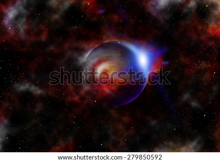 A planet with rising sun in space