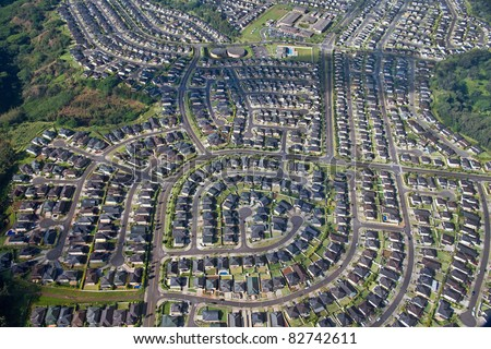 A planned residential community - an aerial near Pearl City, Oahu - stock photo