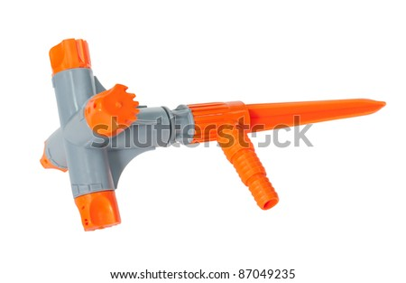 a plastic nozzle for garden hose, isolated - stock photo