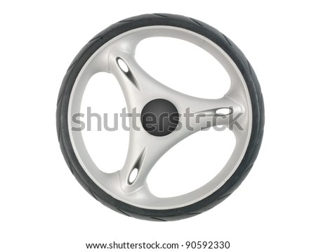 A plastic wheel isolated against a white background