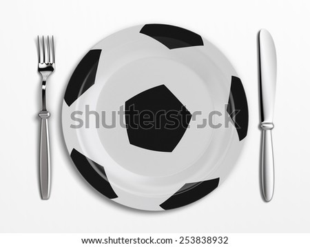 A plate designed for football lovers - stock photo