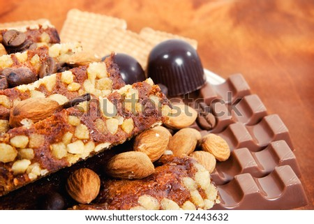 A plate full of delicious snacks (shallow DOF) - stock photo