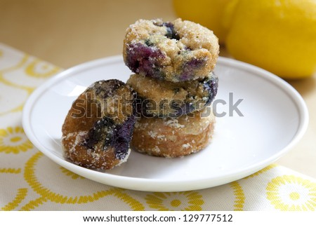 a plate of baked lemon blueberry donuts - stock photo
