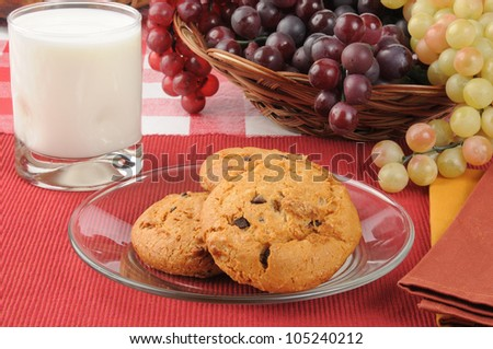 A plate of chocolate chip cookies with a glass of milk by a basket of grapes