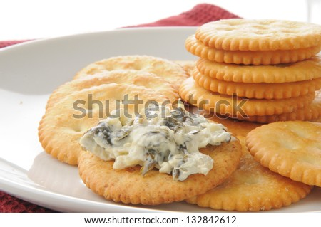 a plate of crackers with spinach artichoke dip - stock photo