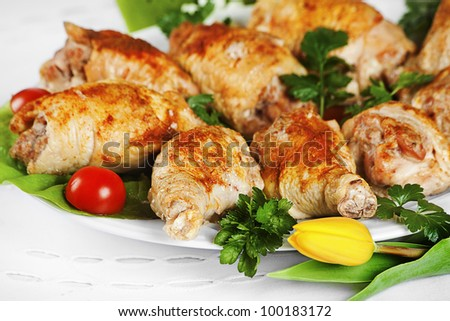 a plate of gold roasted turkey with parsley